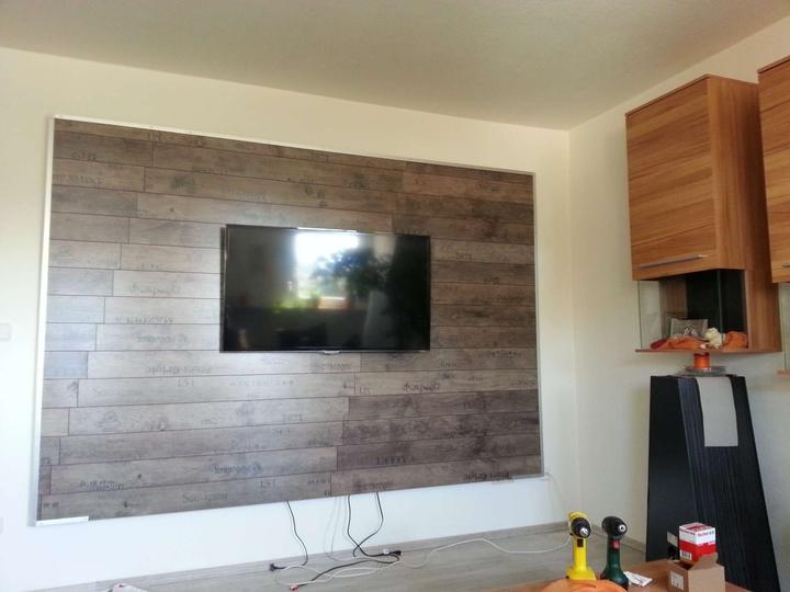 Tv wand wohnwand gebaut - Wand mit steinoptik ...
